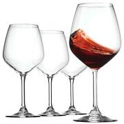 Bormioli Rocco 18oz Red Wine Glasses Set Of 4 Crystal Clear Star Glass, Laser