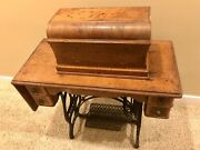 Rare 1880andrsquos Usa Antique Treadle Eldredge B Sewing Machine Coffin Top Stand Works