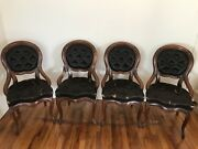 Set Of 4 Antique Victorian Carved Parlor Side Dining Chairs Orig Horsehair Ny