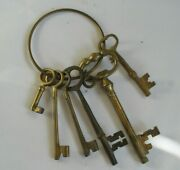 6 Assorted Antique Large Solid Brass Hotel Or Door Keys On Ring Skeleton Italy