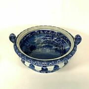 Rare Enoch Wood And Son Hylands Essex Historical Blue Staffordshire Footed Bowl