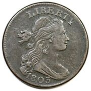 1803 S-244 R-4 Sm Date Sm Frac Draped Bust Large Cent Coin 1c