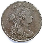 1803 S-244 R-4 Anacs Vf 25 Details Draped Bust Large Cent Coin 1c