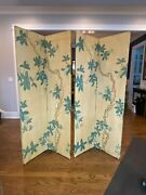 Late 19th Century Continental Painted Chinoiserie Wallpaper Screen With Decoupag