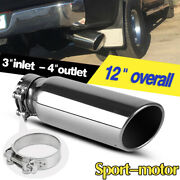 3 Inlet Truck Exhaust Tip 4 Outlet 12 Long Stainless Steel Tail Pipe Clamp-on