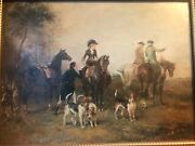 Beautifully Detailed Antique Oil On Tin Hunting Scene