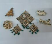 Vintage Mixed Lot Goldtone Jewelry Earrings Brooch Pins Christmas Napier