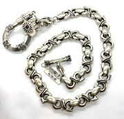 Massive King Baby S Chain Wallet Chain Red Stone .925 Silver About 490g