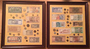Foreign Currency Bank Notes + Coin Money Framed Collection Lot Of 2 Pieces
