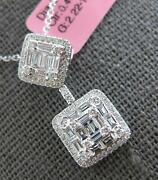 1.41ct Diamond 18kt White Gold Round And Baguette Square Cluster Floating Pendant