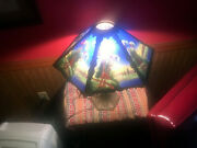 Vintage Victorian Brass Table Lamp Reversed Glass Shade Great Looking Lamp