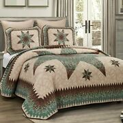 Country Primitive Farmhouse Sea Breeze Star Ultra Comfort Quilt Collection