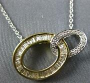 .54ct Diamond 14kt 2 Tone Gold 3d Round And Baguette Double Oval Love Knot Pendant