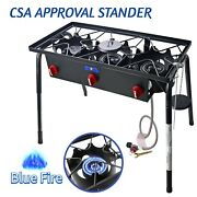 Outdoor Portable Cast Iron Porpane Burner Stove Camping 3 Burners Gas Cooker