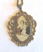 Madonna And Child Jesus 2 Pendant Necklace, Brass, With Sepia Vintage Look