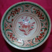 Large Old And Antique Chinese Ming Swatow 17thc Red Green 'flower' Charger Dish