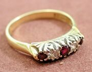 Antique Carved Half Loop Diamond + Ruby 18ct Yellow Gold Ring O Size 18mm