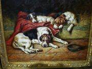 English Setter Jack Russell Brushstroke Canvas Print 3 Dogs Lying William Darby