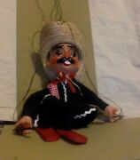 Vintage Puppet . Clay And Cloth Marionette. Mexican Guitar Player With Gun.
