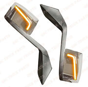 Qsc Performance Led Chrome Hood Mirror L And R Pair And Mounting Kit For Volvo Vnl