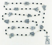 Stations Of The Cross Rosary With Black Glass Oval Beads And Station Charms