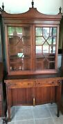 Charak Early 1900s Federal Style Secretary W/ Tambour Doors And String Inlays