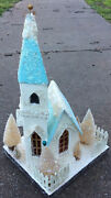 Vintage Look Putz Style Christmas Church 16andrdquo Bottle Brush Tree Blue And White