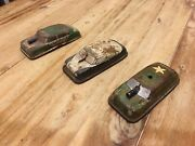 Vintage Tin Litho Toy Police Military Friction Cars 1950andrsquos