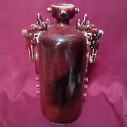 Old And Antique Chinese Ox-blood Cylindrical-long Bottle Vase W/ Dragon Ears