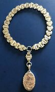 1885 Birmingham Constatine And Floyd Sterling Silver Gold Inlaid Necklace