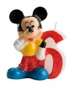 Disney Mickey Mouse Birthday Candle No. 6 - Party Cake Topper Decoration