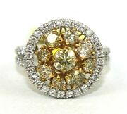Natural Fancy Yellow Round Diamond Cluster Ladyand039s Ring 14k White Gold 2.26ct