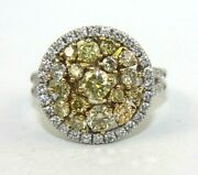 Natural Fancy Yellow Round Diamond Cluster Ladyand039s Ring 14k White Gold 1.90ct