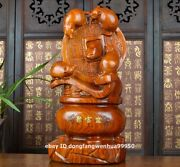 China Rosewood Wood Hand Carved Fengshui Wealth Ruyi Five Mouse Rat Mice Statue