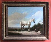Antique Oil Painting On Canvas Signed White Horse Landscape Framed 38 X 32