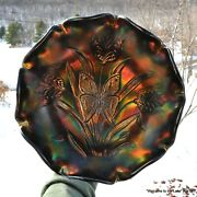 Fenton, Carnival Glass Bowl, Landmark Collection, 1905-2005, Butterfly And Tulip