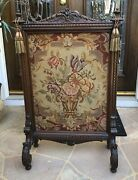 Antique 1800and039s Mahogany English Fire Screen Needlepoint Flower Basket 42andrdquo Tall