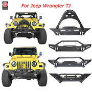 Hooke Road Texture Front Bumpers W/ Winch Plate Fits 1997-2006 Jeep Wrangler Tj