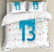 13th Birthday Duvet Cover Set Twin Queen King Sizes With Pillow Shams