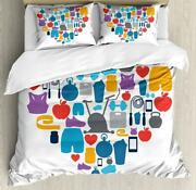 Fitness Quote Duvet Cover Set Twin Queen King Sizes With Pillow Shams Ambesonne