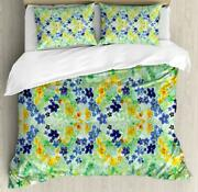Watercolor Flower Duvet Cover Set Twin Queen King Sizes With Pillow Shams