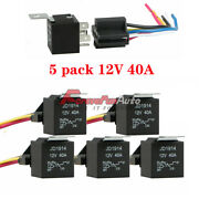 5 Pack 12v 30/40 Amp 5-pin Spdt Automotive Relay With Wires And Harness Socket Set