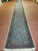 2and039 9 X 20and039 Vintage Oriental India Floral Hand Made Wool Runner Rug Ivory Nice