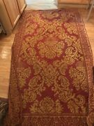 Vintage French Woven Tapestry Throw Coverlet Tablecloth Red Gold Damask 57x102