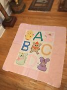 Vintage 1980 Pink Girl Handmade Baby Quilt Abcs Cat Chicken Rabbit Mouse 44x48