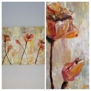 Hand Painted Abstract Flower Acrilic Paintings On Canvas Wall Art Home Decor