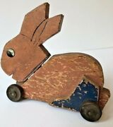 Vtg Pull Toy Wood Bunny Rabbit Easter Pink Blue Paint Wheels Rustic Farmhouse