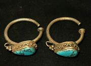 Tibetan Nepalese Himalayan Collectables Antique Vintage Silver Earring Turquoise