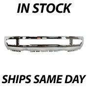 New Chrome Front Bumper Face Bar For 2017-2019 Ford F250 F350 Super Duty W/ Fog