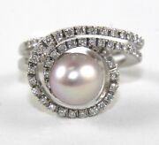 Natural Freshwater Pearl And Diamond Spiral Swirl Ring 18k White Gold 9.5mm 1.00ct